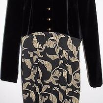 Escada Vintage Dress Black White Wool Velvet Gold 38 8 Hapachico Haute Couture  Photo