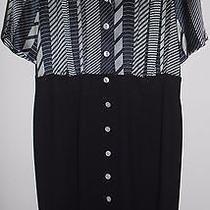 Escada Vintage Dress Navy Blue White Wool Silk 42 12 Hapachico Haute Couture Photo