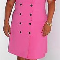 Escada Vintage Dress Pink Red Black Wool Double Breasted 40 10 Hapachico Haute  Photo