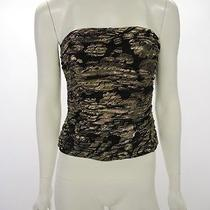 Escada Vintage Gold Lame Silk Ruched Strapless Bustier Tube Corset Top Sz 36 / 4 Photo