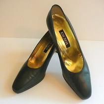 Escada Vintage Marrone Dark Navy Classic Pumps Heels Size 8.5 Retail 395 Photo