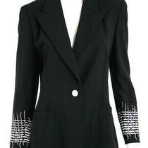 Escada Vintage Midnight Blue Wool White Embroidered Sleeve Jacket 36 Photo