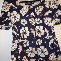 Escada Vtg Navy & White Dolphin Print Jacket / Blazer Size 38 (Us 8-10) Vguc Photo