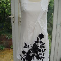 Escada White Cotton  Black Applique Dress 34 4 Latest Black & Blue Label. Photo