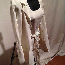 Escada White Knit-Cardigan With Camesole and Knit Belt.  Photo