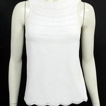Escada White Open Knit Sleeveless Knit Top Size 36 Photo