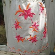 Escada White Palm Embroidered Tie Waist Skirt  One Size Photo
