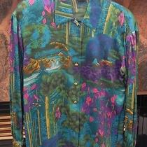 Escada Wilderness Silk Blouse With Bears Birds and Waterfalls Photo