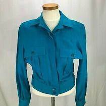 Escada Woman's 100% Linen Teal Blue Summer Jacket 38 German 10 Usa Photo
