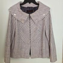 Escada Women's Front Collared Tweed Blazer Pink Dark Navy White Size Small Photo