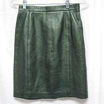 Escada Women's Green Metallic Soft Lamb Leather Straight Skirt Size 34  Photo