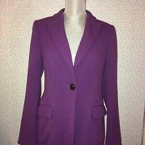 Escada Womens Purple Single Breasted Long Sleeve Designer Blazer Jacket 34 Photo