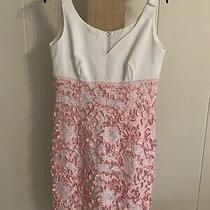 Escada Women's Sleeveless White Dress W/pink White Ribbon Bottom Size 38 Us 8 Photo