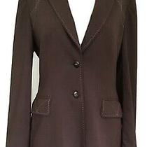 Escada Womens Two Button Down Fitted Blazer Brown Wool Size 38 Logo Buttons Photo