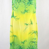 Escada Women's Yellow Green Leaf Print Sleeveless Dress Sz 38 8 Photo
