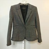 Escada Women Sz 38 Blazer Jacket Wool Linen Blend Pleated Gray Black One Button Photo