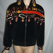 Escada Womens 38 8 10 Valour 1980's Medallions Rare Black Velvet  Jacket Coat Photo