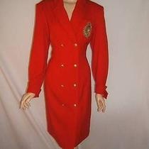 Escada Womens 40 10 Red Very Rare Military Luxury 1980's 80's Wool Vintage Dress Photo