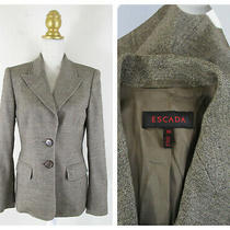 Escada Womens Brown Tan Wool Tweed Blazer Jacket Size 38 Us 8 M Formal Photo