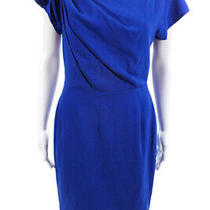 Escada Womens Cap Sleeve Asymmetrical Neckline Sheath Dress Blue Size Eu 36 Photo