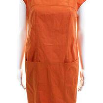 Escada Womens Cap Sleeve Boat Neck Mini Sheath Dress Orange Cotton Size Eu 38 Photo