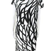 Escada Womens Cap Sleeve Draped Neck a-Line Dress White Black Size Italian 38 Photo