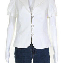 Escada Womens Cotton Short Sleeve Notched Collar 3 Button Blazer White Size 4 Photo