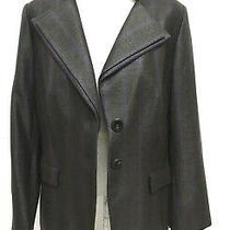 Escada Womens Herringbone Blazer Jacket Size 44 Us 14 Double Lapel Grey Black  Photo