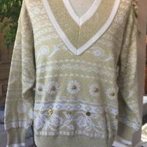 Escada Womens Sz 36  Whitegold Cotton Blend Embellished Sweater Excellent Photo