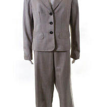 Escada Womens Wool Two Piece Striped Pants Suit Beige Size 42 Eur Ll19ll Photo