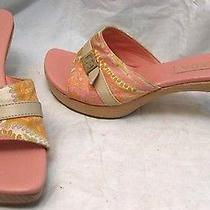 Escada Wood Sole Heels Slides Shoes Sz 37.5 Worn 1x Photo