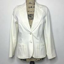 Escada Wool Blazer Women's S White Two Button Embroidered Jacket Photo