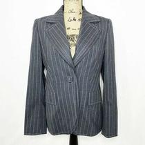 Escada Wool Mohair Blazer 38 Us 8 M Gray Pinstripe One Button Jacket Photo