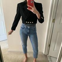 Escada Wool Velvet Cropped Black Blazer Jacket Size 36 Womens Photo