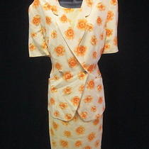 Escada Yellow Orange Silk Floral Printed Short Sleeve Blazer Dress Suit Sz 40 42 Photo