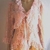 Escante Lingerie Very Sexy Lace Babydoll Mini Robe Set Size Large Blush Pink  Photo