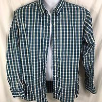 Essential Elements Gree & White Plaid Button-Front Shirt Women's Medium 9450 Photo