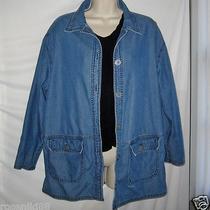 Essential Elements Lightweight Button Down Denim Jacket Womens Size M Photo