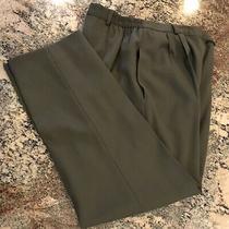 Essential Elements Women's Dress Slacks Plants Size 16 Olive Green Pleats Lined Photo