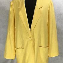 Essential Elements Yellow 100% Rayon Womens Blazer Jacket Sz L Made in Usa Photo