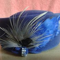 Estate Sale - Beautiful Blue Fancy Feather Hat  -  Need to Clear  Photo