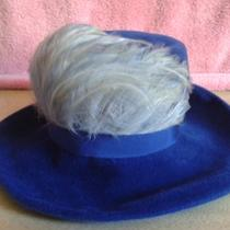 Estate Sale - Beautiful Cobalt Blue Fancy Feather Hat  -  Need to Clear  Photo