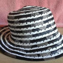 Estate Sale - Ladies Beautiful Black White Stripe Fancy Hat  -  Need to Clear  Photo
