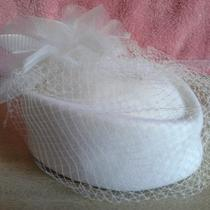 Estate Sale - Ladies Beautiful Off White Net Feather Fancy Hat - Need to Clear  Photo