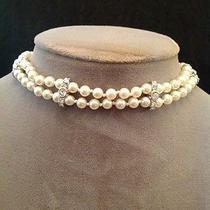 Estate Swarovski Crystal Pearl Necklace Bridal Wedding Choker Statement Classy Photo