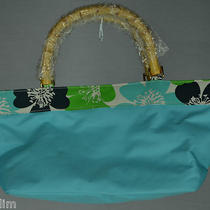 Estee Lauder Aqua Blue Tropical Flower Purse Handbag Tote Wood Bamboo Handles Photo