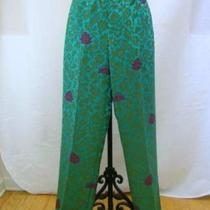 Etcetera Aqua Green Teal Fuschia Print Dress Slacks Pants Voyager Sz 6 New 235 Photo