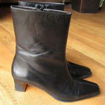 Etienne Aigner 7.5 M Boots Sleek  Black Leather Midcalf  Style Name Camera  Photo