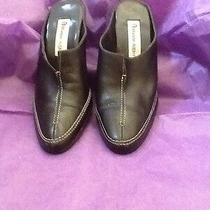 Etienne Aigner Black Leather Heels Women's Slide Shoes Size 7 Medium  Lk Photo