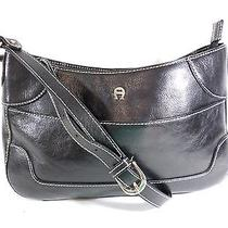 Etienne Aigner Black Leather Shoulder Bag Purse With Cream Top Stitching Photo